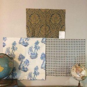 3 Designer Fabric Samples Blue Tones